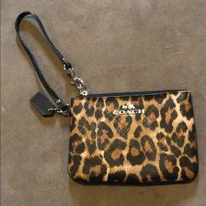 Leopard print coach wristlet